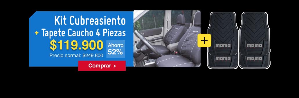 Kit Cubreasiento + Tapete Caucho 4 Piezas