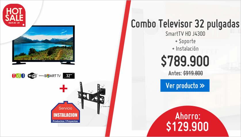 Combo televisor + soporte + instalacion