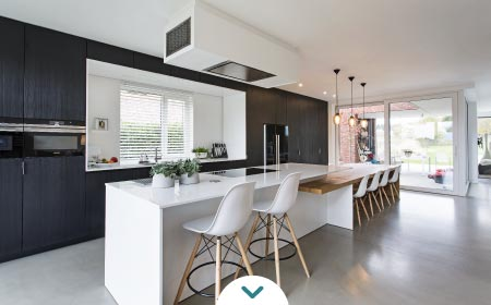 Gabinetes de cocina modernos - macetas para plantas de interiores